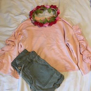 Pink Ruffle-Sleeved Sweatshirt